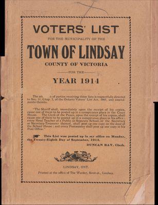 Lindsay Voters List 1914