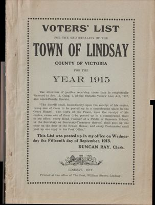 Lindsay Voters List 1915