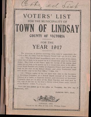 Lindsay Voters List 1917