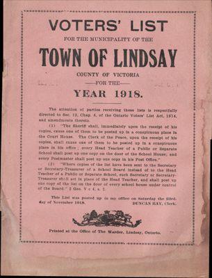 Lindsay Voters List 1918