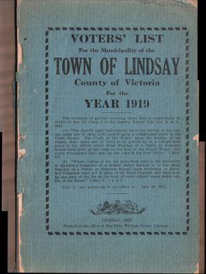 Lindsay Voters List 1919