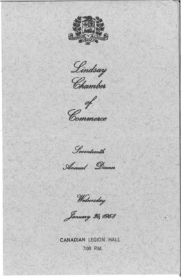 On the Main Street - 24 January 1968 - Lindsay Chamber of Commerce menu programme