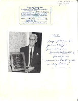 On the Main Street - 1968 - Faithful Brethren Lodge No. 77 life membership and Kiwanis Award