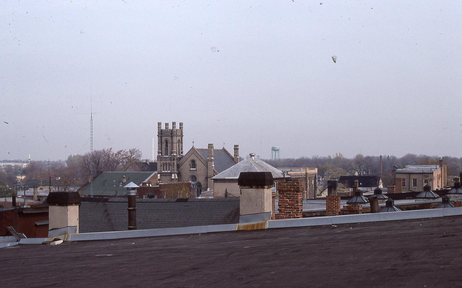 Rooftops of Lindsay with St. Andrew's Presbyterian Church