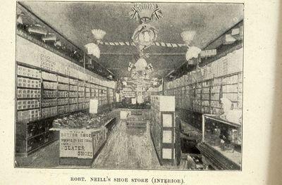 Robert Neill's Shoe Store interior 1898