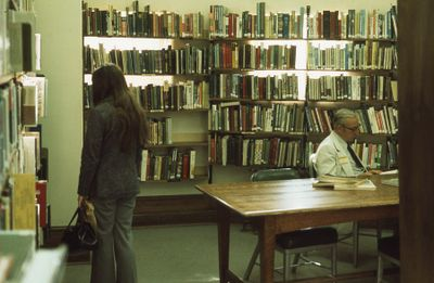 Interior of Carnegie library, basement, 1975