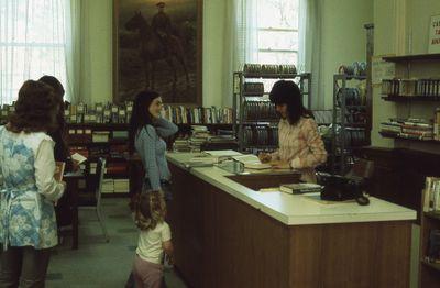 Interior of Carnegie library, film department, 1975