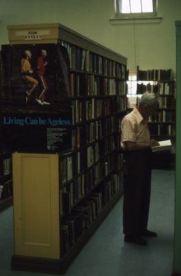 Interior of Carnegie library, fiction section, 1976