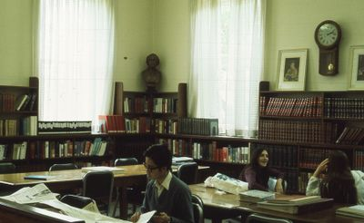 Interior of Carnegie library, reference section, 1975