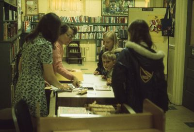Interior of Carnegie library, children's department in basement, 1973