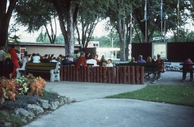 Library program, Outdoor film show in Victoria Park, 1973