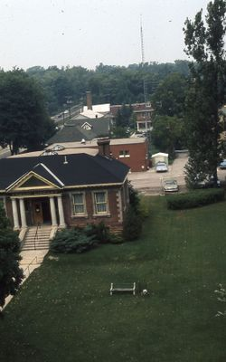 Exterior of Carnegie library, aerial view of east side, 1973
