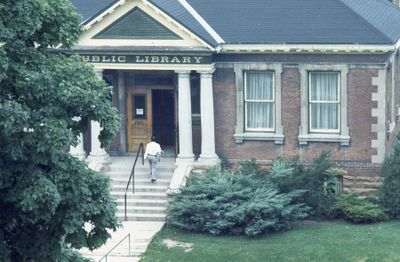 Exterior of Carnegie library, front steps, 1973
