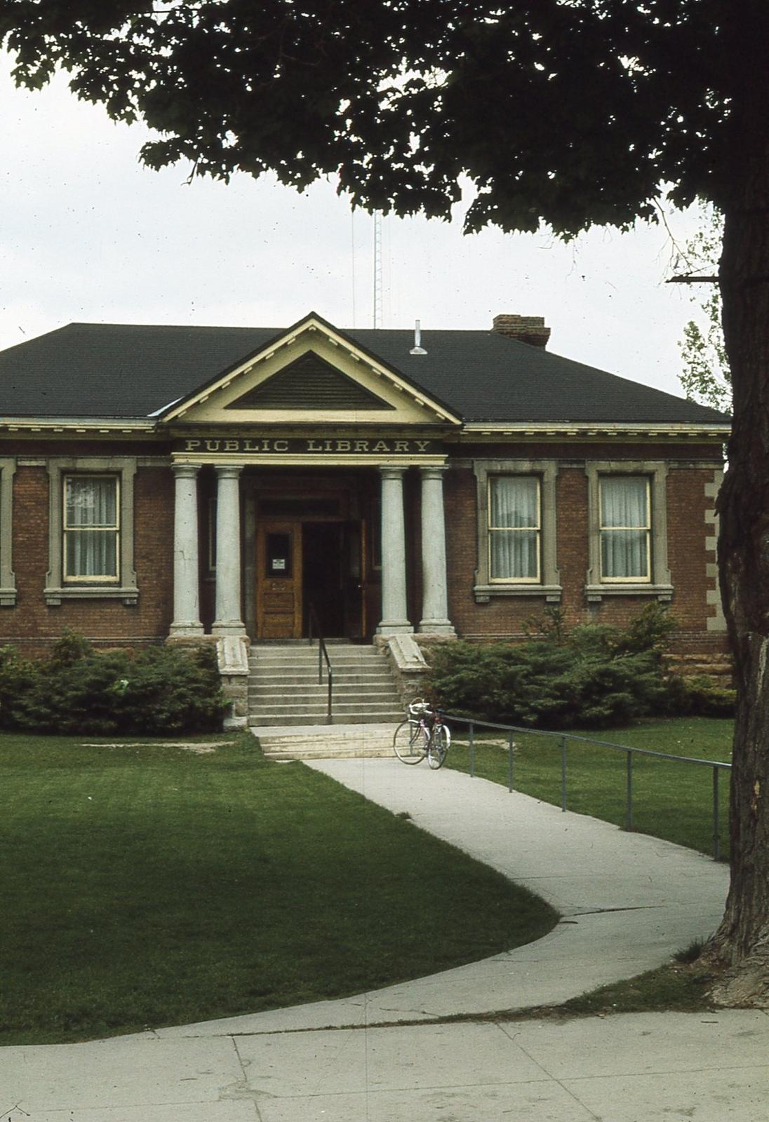 Exterior of Carnegie library, front with walking path