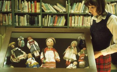 Interior of Carnegie library, doll display, 1973