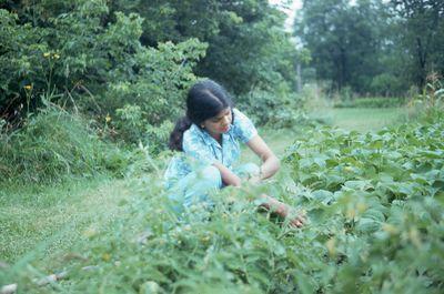 Unknown woman in garden, 1976