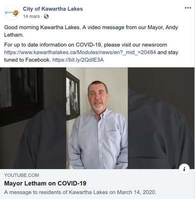 March 14: Mayor Letham on COVID-19
