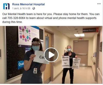 April 1: Message from Mental Health team, Ross Memorial Hospital