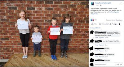 April 3: Children of a Ross Memorial Hospital staff member share a message.