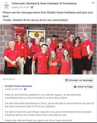 April 6: Shields Home Hardware, Coboconk, ask for community input about services.