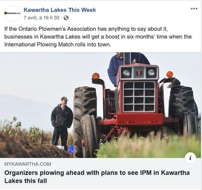 April 7: Organizers plow ahead with plans to see IPM in Kawartha Lakes this Fall