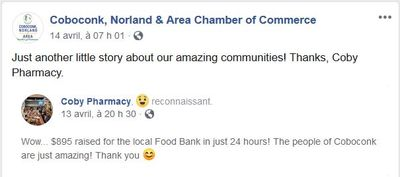 April 13: Coby Pharmacy raises $895 for food bank in 24 hours