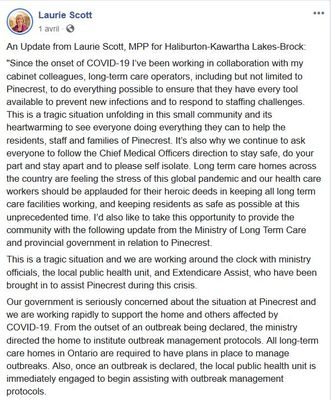 April 1: A message from Laurie Scott, MPP