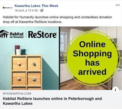 April 18: Habitat ReStore launches online in Peterborough and Kawartha Lakes
