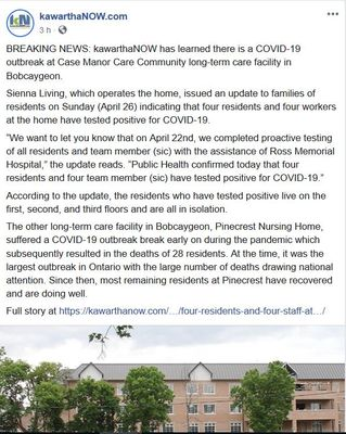 April 27: Residents and staff at Case Manor, Bobcaygeon, test positive for COVID-19