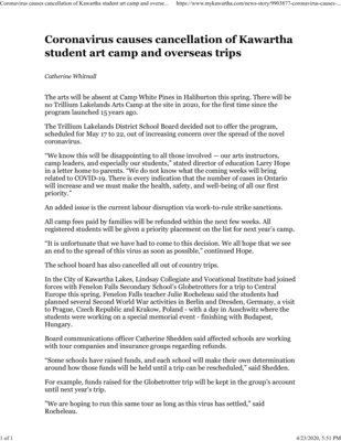 March 11: Coronavirus causes cancellation of Kawartha student art camp and overseas trip