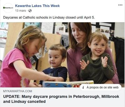 March 13: Many daycare programs in Peterborough, Millbrook and Lindsay cancelled