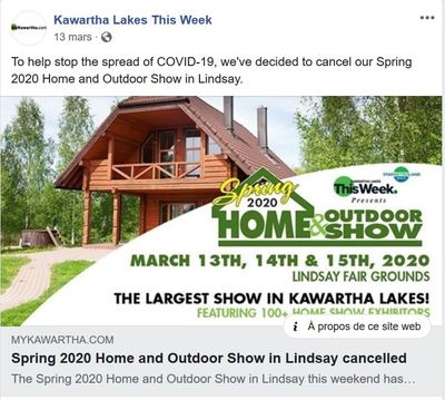 March 13: Spring 2020 Lindsay Home & Outdoor Show cancelled