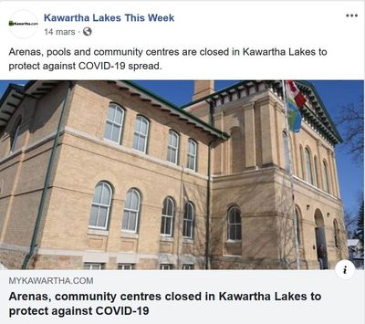 March 14: Arenas and Community Centres closed in Kawartha Lakes