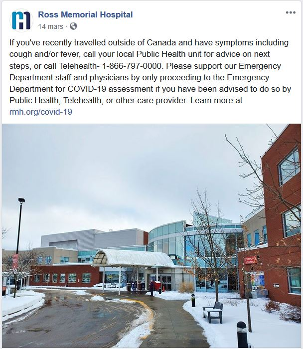 March 14: Ross Memorial advises public on who to call for COVID-19 assessment