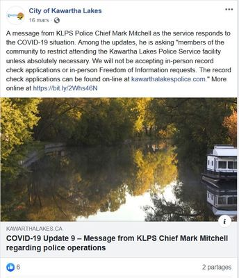 March 16: Message from KLPS Chief Mark Mitchell regarding police operations