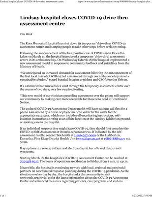 March 17: Ross Memorial closes COVID-19 drive-thru assessment centre