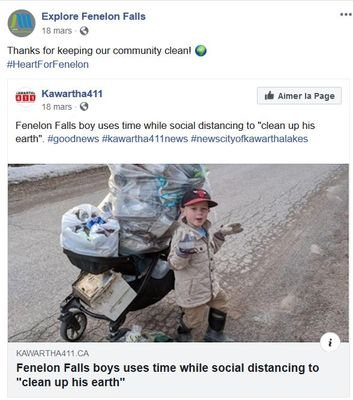 """March 18: Fenelon Falls boy uses time while social distancing to """"clean up his earth"""""""