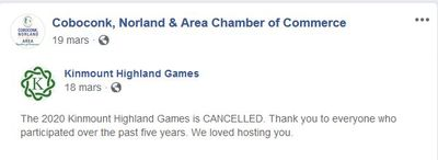 March 18: 2020 Kinmount Highland Games canceled