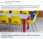 March 23: Province opening 50,000 free, 24-hour, child care spaces for essential workers