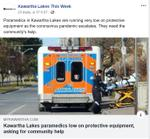 March 23: Kawartha Lakes paramedics low on protective equipment, asking for community help