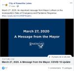 March 27: Message from the Mayor