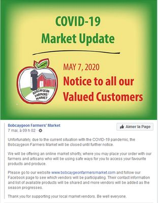 May 7: Bobcaygeon Farmers' Market remains closed