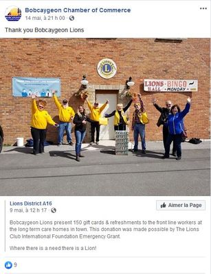 May 9: Bobcaygeon Lions donate gift cards & refreshments