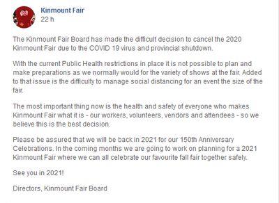 May 25: Kinmount Fair cancelled