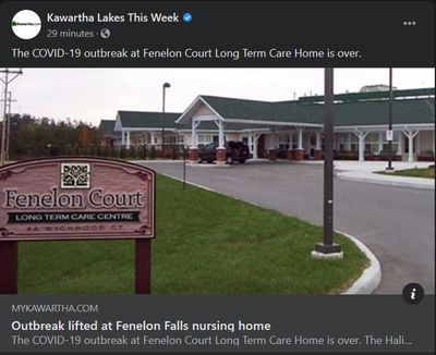 July 2: Outbreak lifted at Fenelon Falls nursing home
