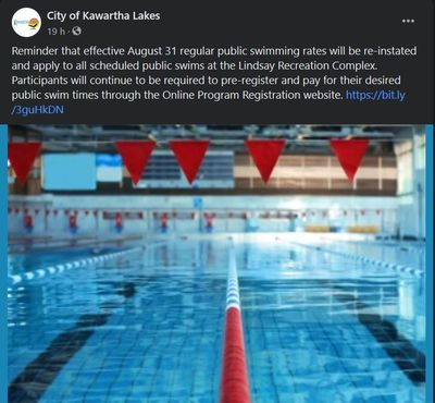 August 26: Free swims end at Lindsay Recreation Complex