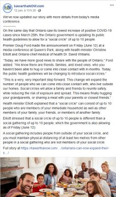 June 12: Ontarians can now expand their 'social circle' to include 10 people