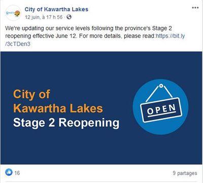June 12: City of Kawartha Lakes Stage 2 Reopening