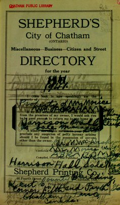 Shepherd's city of Chatham (Ontario) miscellaneous, business, citizen and street directory for the years 1941