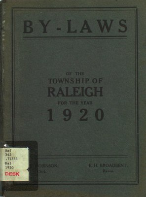 By-laws of the municipal council of the Township of Raleigh, 1920